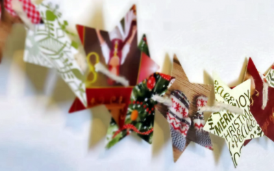 Xmas wrap recycled to make paper chain