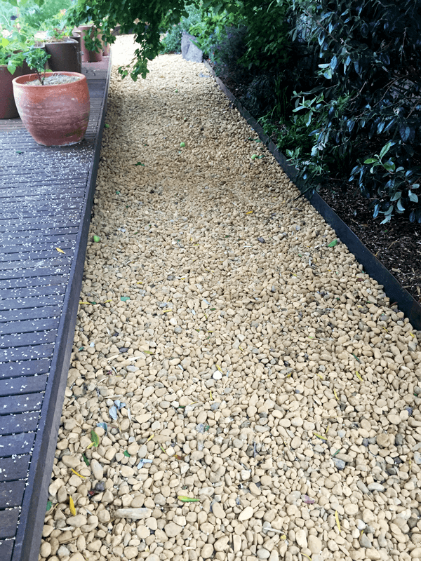Pebble path with COR-TEN edging